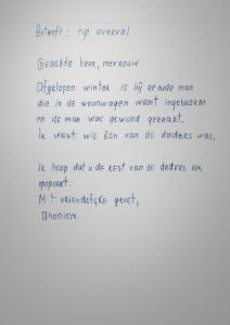 Briefschrijver in verband met woningoverval 2003 gezocht