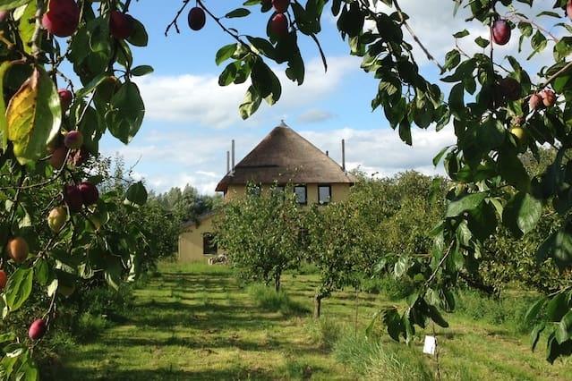 Riant en duurzaam hooiberghuis middenin boomgaard