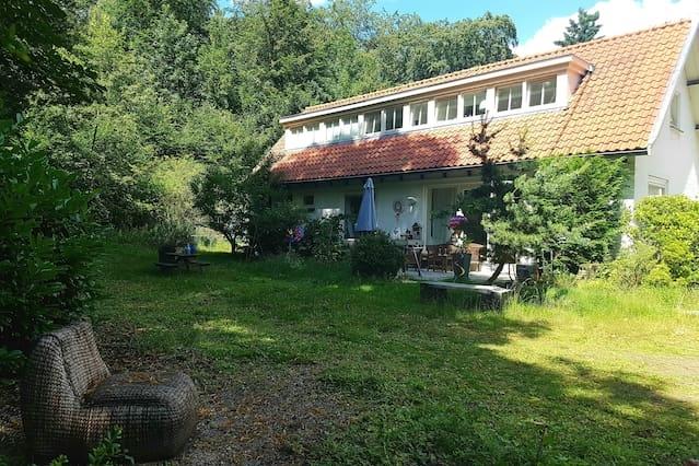 Huisje midden in het bos met fantastische tuin