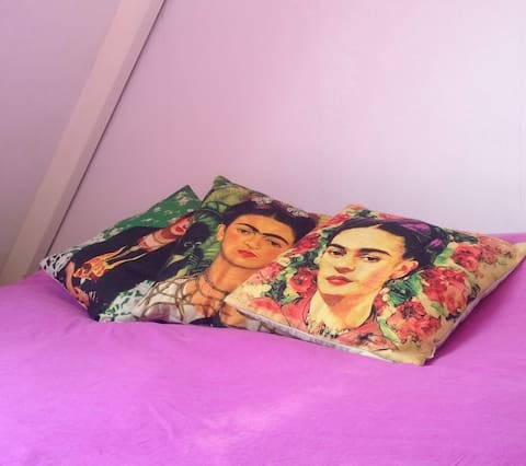 Frida Kahlo Attic Room in Colorful Family Home