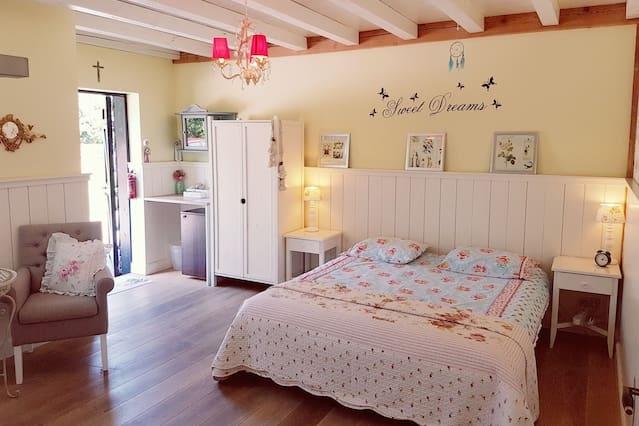 Ruime 2persoonskamer met privé  badkamer & ingang